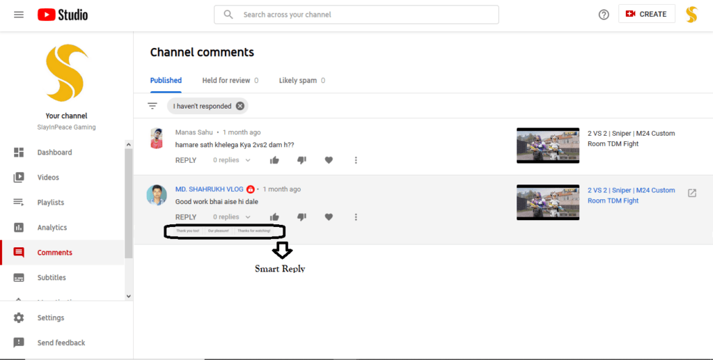 YouTube Smart Reply